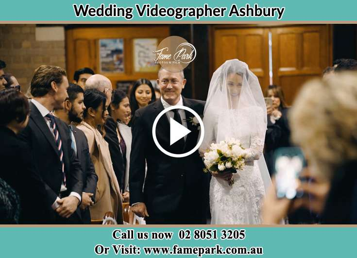 Bride and her father walking in the aisle Ashbury NSW 2193