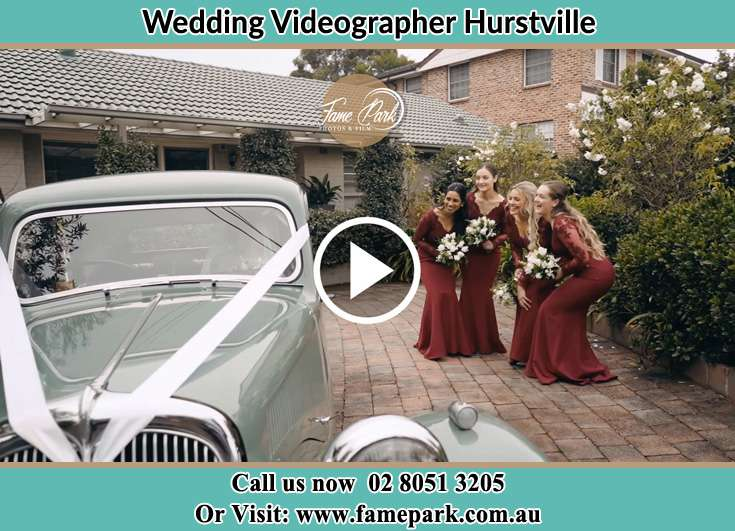 The bridesmaids looking at the wedding car Hurstville NSW 2220