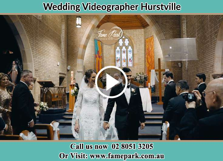 The newlyweds walking away from the altar Hurstville NSW 2220